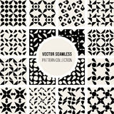 Set of Sixteen Vector Seamless Black And White Rounded Geometric Pattern Collection Stock Image