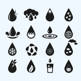 Set of sixteen  water drops Stock Photography
