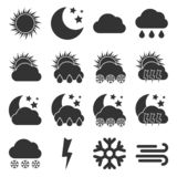 Set of sixteen Weather Icons royalty free illustration
