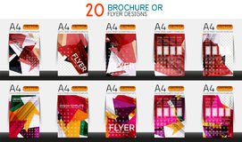 Set of A4 size business brochure or annual report covers. Vector abstract backgrounds Royalty Free Illustration