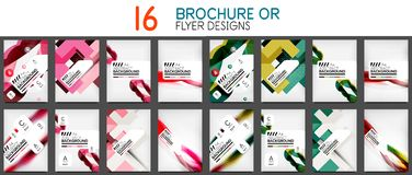 Set of A4 size business brochure or annual report covers. Vector abstract backgrounds Stock Illustration