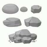 Set skała kamień z Różnym kształtem Płaska wektorowa ilustracja Zdjęcia Stock