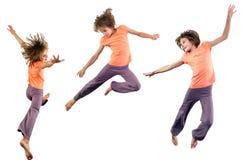 Set skacze nad bielem ładna dziewczyna Zdjęcia Royalty Free