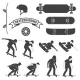 Set of skateboard and skateboarders icon. Vector illustration. Stock Photography