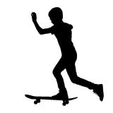 Set of skateboarders silhouette. Vector Royalty Free Stock Photos