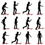 Set of skateboarders silhouette. Royalty Free Stock Images