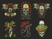 Set of skateboarding emblems royalty free illustration