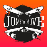 Set of skateboarding emblems, labels and designed Royalty Free Stock Photos
