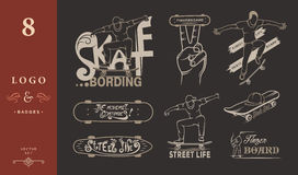 Set of Skateboarding Emblems, Logo and Badges. Set of skateboarding emblems, logo, badge, labels and designed elements. Collection sign street art, street life Royalty Free Stock Photography