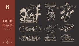 Set of Skateboarding Emblems, Logo and Badges Royalty Free Stock Photography