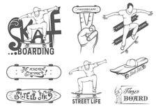 Set of Skateboarding Emblems, Logo and Badges. Set of skateboarding emblems, logo, badge, labels and designed elements. Collection sign street art, street life Stock Image