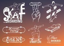Set of Skateboarding Emblems, Logo and Badges. Set of skateboarding emblems, logo, badge, labels and designed elements. Collection sign street art, street life Stock Images