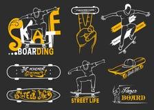 Set of Skateboarding Emblems, Logo and Badges. Set of skateboarding emblems, logo, badge, labels and designed elements. Collection sign street art, street life Royalty Free Stock Photo