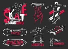 Set of Skateboarding Emblems, Logo and Badges. Set of skateboarding emblems, logo, badge, labels and designed elements. Collection sign street art, street life Stock Photo