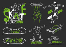 Set of Skateboarding Emblems, Logo and Badges. Set of skateboarding emblems, logo, badge, labels and designed elements. Collection sign street art, street life Royalty Free Stock Images