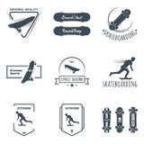 Set of skateboarding labels, badges and design elements. Longboard retro emblems. Graphic design for t-shirt. Dark print on white background Stock Images