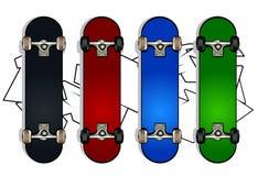Set of skateboards. On white graffiti background Stock Photo