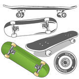Set of skateboards. From different angles + detailed skateboard wheel. Vector illustration Royalty Free Stock Image