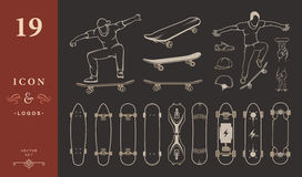 Set of Skateboards, Equipment, and Elements of Street Style. Set of skateboards and skateboarding of equipment, clothing, protection, and elements of street Royalty Free Stock Photos