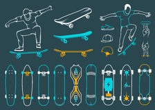 Set of Skateboards, Equipments of Street Style Royalty Free Stock Images
