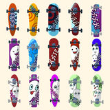 Set of skateboards and skateboarding elements street style. Painted in bright figures in a cartoon. Vector Stock Photo