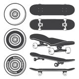 Set of skateboards and skateboarding wheels. Stock Images