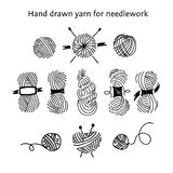 Set skeins of different forms. Hand-drawn collection of yarns Royalty Free Stock Photos