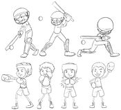 Set of sketch athlete. Illustration stock illustration