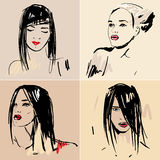 Set of sketch Beautiful girls. Royalty Free Stock Photography