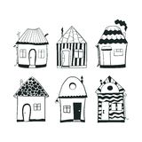 Set sketch black and white outline houses in Royalty Free Stock Images