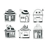 Set sketch black and white outline houses in Royalty Free Stock Photo