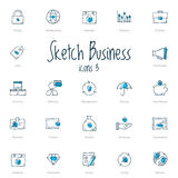 Set of sketch business icons with blue accent Royalty Free Stock Photo