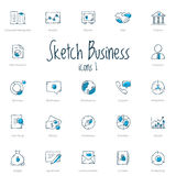 Set of sketch business icons with blue accent Royalty Free Stock Photos