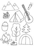 Set of sketch camping equipments. Hand-drawing illustration Royalty Free Stock Photos