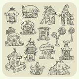 Set of sketch cartoon vector houses Royalty Free Stock Image