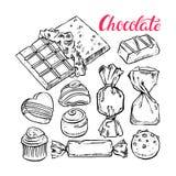 Set of sketch chocolate candies Stock Photos