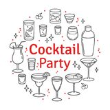Set sketch cocktails and alcohol drinks. Set of cocktails and alcohol drinks royalty free illustration