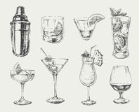 Set of sketch cocktails and alcohol drinks.  stock illustration