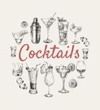 Set sketch cocktails and alcohol drinks hand drawn illustration Stock Photos