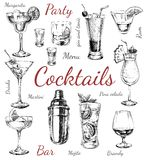 Set sketch cocktails and alcohol drinks hand drawn illustration. Set of sketch cocktails and alcohol drinks  hand drawn illustration Set of sketch cocktails and Stock Image