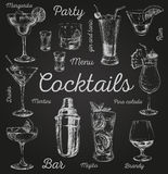 Set of sketch cocktails and alcohol drinks vector hand drawn illustration.  Stock Image