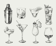 Set of sketch cocktails alcohol drinks vector hand drawn illustration Stock Photo