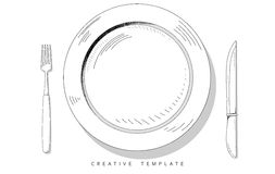 Set sketch cutlery. Plate, fork and knife. Template for presentation Stock Images
