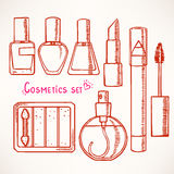 Set with sketch decorative cosmetics Royalty Free Stock Images