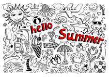 Set of sketch design element summer theme with Royalty Free Stock Photo