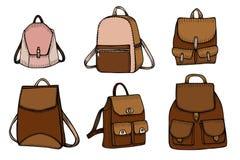 Set of Sketch Doodle Backpacks Royalty Free Stock Image