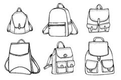 Set of Sketch Doodle Backpacks. Royalty Free Stock Images