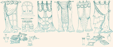 Set sketch - draperies - color blue. Set sketch - draperies, curtains , pillows and vases - blue Royalty Free Stock Photography