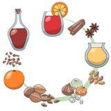 A set of sketch drawings. Ingredients for gleg. Gleg, orange, zest, lemon slice, nutmeg, cinnamon stick, cloves, star anise, royalty free illustration