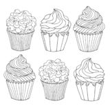 Set of sketch drawn black contour cupcakes, decorated with cream, isolated on white background. Template for coloring or design vector illustration